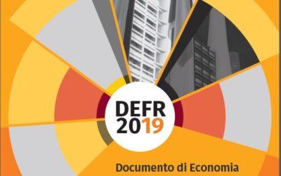 Presentato il Documento di Economia e Finanza Regionale – DEFR 2019