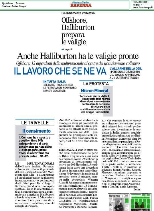 Offschore Halliburton 18 marzo