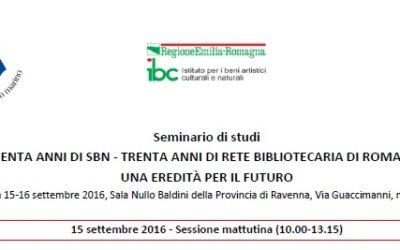 La Rete Bibliotecaria di Romagna e San Marino compie 30 anni